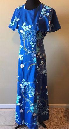 Vintage 1960s Hukilau Fashions Hawaii Mumu Blue Floral Rainbow Maxi Dress M DS3 #HukilauFashions #Hawaiian #Casual
