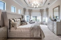 Contemporary bedroom with patterned curtains beige paint tray ceiling Bed Headboard Design, Custom Headboard, Wood Headboard, Custom Curtains, Floating Headboard, Headboard With Lights, Wall Mounted Headboards, Headboards For Beds, Luxurious Bedrooms