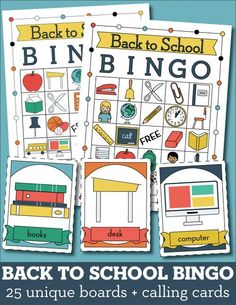 Printable Back to School Bingo! 25 unique boards + calling cards // A fun low-stress activity for the first day of school.