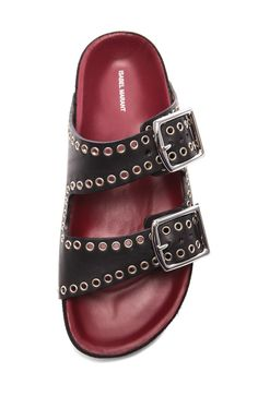 Isabel Marant Lenny Eyelet Calfskin Leather Sandals Black - Isabel Marant
