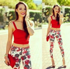love bebe red floral pants must have!!!