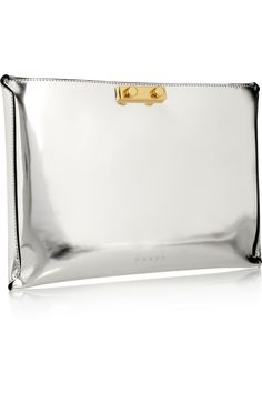 Metallic Moment: high-shine finishes lend lustre to fall. Silver Clutch, Leather Clutch, Stella Mccartney Boots, Fab Bag, Metal Fashion, Everyday Bag, Clutch Wallet, Marni, Bag Accessories