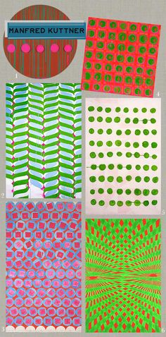 hand painted geometrics by Manfred Kuttner
