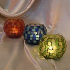 Candle Holders, Available in Red, Blue and Gold, with 8.0cm Height, Made of Glass