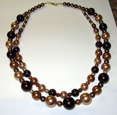 Caramel and Chocolate Pearl Necklace by treasuresbycathy on Etsy, $19.95