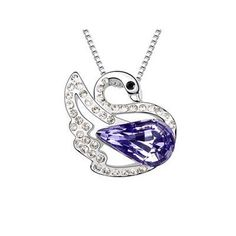 Fancy 18k White Gold Plated Amethyst Purple and Clear Swarovski Austrian Crystal Swan Charm Pendant Necklace Elegant Silver Color Crystal Animal Fashion Jewelry P9882 Enchanting Jewels Necklace, http://www.amazon.com/dp/B009MPWMC8/ref=cm_sw_r_pi_dp_ApiCqb09BKFWC