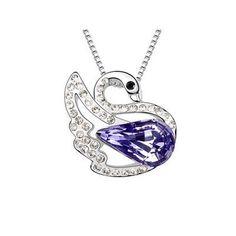 Fancy 18k White Gold Plated Amethyst Purple and Clear Swarovski Austrian Crystal Swan Charm Pendant Necklace Elegant Silver Color Crystal Animal Fashion Jewelry P9882 Enchanting Jewels Necklace, http://www.amazon.com/dp/B009MPWMC8/ref=cm_sw_r_pi_dp_ApiCqb09BKFWC
