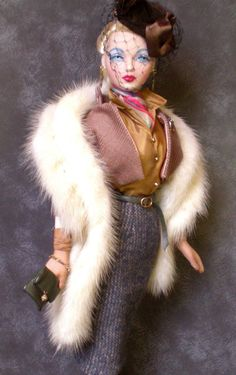 "Gene Tonner Doll OOAK Real Fur by PD Root ""Parallel Lines"" 