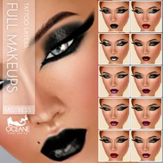 Mistress Mood full make-ups for Second Life    Marketplace:   https://marketplace.secondlife.com/stores/7401     www.oceanebodydesign.com