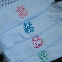 Our favorite is the teal monogram. Great long sleeve t-shirt to layer