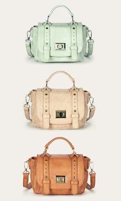 Mini messenger bag in mint, blush and cognac with a top handle, removable crossbody strap, metal hardware and turnlock front flap closure
