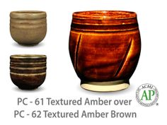AMACO Potter's Choice layered glazes PC-62 Textured Amber Brown and PC-61 Textured Amber.