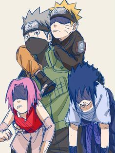 Naruto, Sasuke, Sakura and Kakashi. I literally just pinned the one of these where they are little.