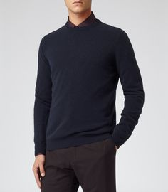 Mens Navy Cashmere Crew-neck Jumper - Reiss Hyde