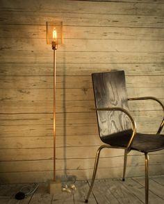 Industrial concrete copper floor lamp, Industrial lamp, Floor light, Copper…