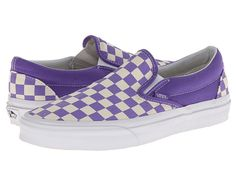 Vans Classic Slip-On Purple Checkerboard. Vans Sneakers, Slip On Sneakers, Leather Sneakers, Vans Shoes, Slip On Shoes, Purple Vans, Purple Shoes, Nick Shoes, Purple