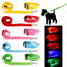 LED Light up Dog Pet Night Safety Bright Flashing Adjustable Nylon Collar Leash #UnbrandedGeneric