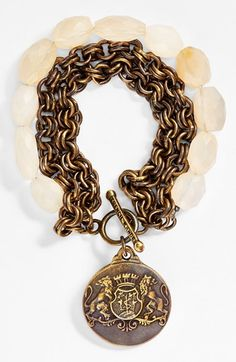 Free shipping and returns on FRENCH KANDE 'Aimé' Chalcedony Medallion Toggle Bracelet at Nordstrom.com. A vintage French medallion — handcast in Los Angeles from the '60s original — serves as a striking pendant on a layered chain-and-stone bracelet. Each component is individually finished for a one-of-a-kind look.