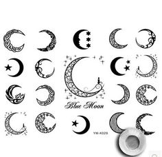 Tribal Moon Tattoos | unisex moon and star tattoo art,primitive tribal sun temporary tattoo ...
