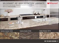 Wilsonart HD High Definition Laminate - Introducing 6 new designs inspired by the luxury of exotic granite. Informations About Wilsonart HD High Definition Laminate - Introducing 6 new designs inspire Kitchen Benchtops, Kitchen Flooring, Kitchen Countertops, Wood Flooring, Wilsonart Laminate Countertops, Solid Surface Countertops, Antique White Cabinets, Kitchen Upgrades, Kitchen Ideas