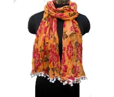 Floral print scarf/ cotton scarf/ lace scarf/ gift  scarf / orange scarf/ /  gift ideas. by vibrantscarves on Etsy