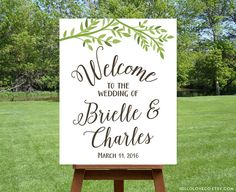 PRINTABLE Wedding Welcome Sign Personalized Large by HelloLoveCo