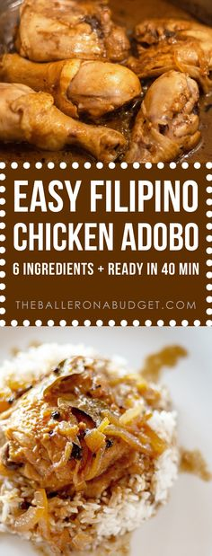This authentic homestyle Filipino chicken adobo calls for 5 ingredients you already have, plus one secret ingredient. Baked Meat Recipes, Beer Recipes, Lunch Recipes, Dinner Recipes, Healthy Recipes, Delicious Recipes, Crockpot Recipes, Easy Recipes, Dinner Ideas