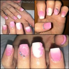 Acrylic nails, pink, white, flower petals, Swarovski diamante #nailsbycarly