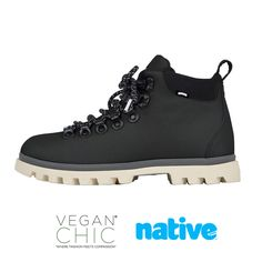 Take on the tundra with these durable, yet fashionable boots that will have you prepared for any conditions.  Native Shoes has been certified by PETA as an approved vegan brand. They believe in respecting our animal and human friends equally.