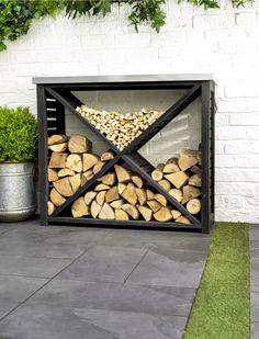 Moreton Cross Log Store – Holzdesign # cross - Feuerstelle im Garten Outdoor Firewood Rack, Outdoor Storage, Indoor Firewood Storage, Firewood Holder, Firewood Logs, Patio Storage, Outdoor Projects, Garden Projects, Outdoor Decor