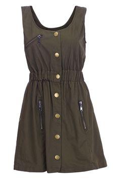 Navy Green Ziped Shift Dress $32