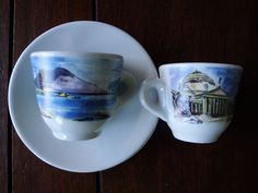 2 Sets Nuova Point Italian City Scene Espresso Demitasse Cups With Saucers ITALY #NuovaPoint