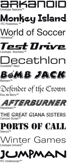 A collection of video game fonts