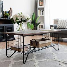 Giantex Steel Coffee Table Metal Solid Frame, Grid Patten for Living Room Bedroom Accent Cocktail Sofa Side Table - Living Room - Furniture Low Shelves, Metal Shelves, Metal Furniture, Home Furniture, Furniture Ideas, Furniture Market, Apartment Furniture, Furniture Outlet, Console Metal