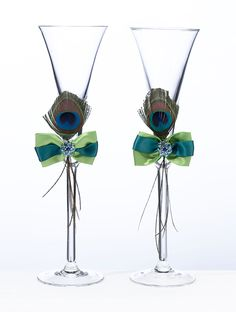 Wedding Peacock Feather Toasting Glasses. But with Purple bow.