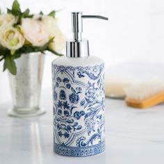 Porcelain Lotion Dispenser, Blue & White