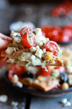 Loaded Greek Goddess Chickpea and Quinoa Pita Chip Nachos via Half Baked Harvest #tailgating #healthy