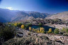 Himalayan landscape: Nako Lake and Nako Village, Himachal Pradesh, India
