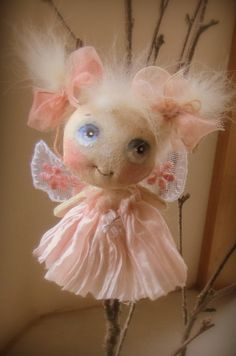 Little cloth doll Fairy Angel soft pink  My little Fairy Angel is hand painted and hand made with blue eyes and lovely soft angora hair .Her dress is made of gorgeous soft pink Habotai silk .Her wings are embroidered net lace