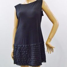 Donna-Morgan-Black-Sleeveless-Stretch-Jumper-Ruffled-Bottom-Dress-Sz-12P