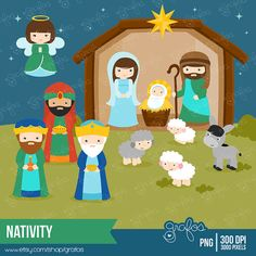 NATIVITY Digital Clipart,  Christmas Clipart, Birth of Jesus Clipart  / Instant Download