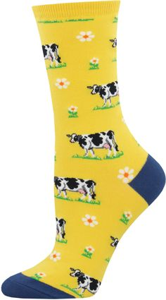 d36a824658ff28 Take to a flowery pasture spotted with loveable cows on a yellow women s  crew sock.