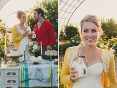 Winnie the Pooh Wedding Inspiration. Love embroidered owl on the tablecloth. And the Straus milk!