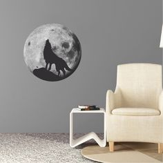 Wolf Decal Wolf Howling Wall Sticker Howling Wolf Moon Decal, Wolf Wall Design, Wolf Howl Wall Design, Wolf Wall Mural, Moon Wall Mural, b93 by PrimeDecal on Etsy https://www.etsy.com/listing/292426097/wolf-decal-wolf-howling-wall-sticker
