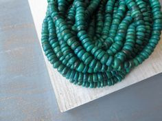 27 CENTS PER INCH 3  x 7 mm 12 inches strand  ~~ Green teal coconut beads small green - blue rondelles discs spacer organic exotic tribal aqua  beads -  -  4a