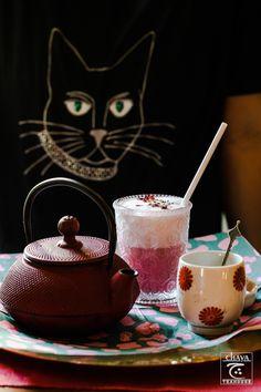 watching you Gin And Tonic, Chocolate Fondue, Matcha, Magic, Tea, Purple, Drinks, Tableware, Desserts
