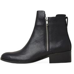 3.1 Phillip Lim Alexa Boot (1.725 BRL) ❤ liked on Polyvore featuring shoes, boots, ankle booties, black, ankle boots, black ankle booties, low ankle boots, short leather boots, leather booties and black bootie boots