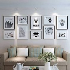 Creating a Gallery Wall? Don't Start Hammering Yet Black Frames On Wall, Frame Wall Collage, Frame Wall Decor, Wall Clock And Picture Frames, Living Room Decor Photos, Picture Wall Living Room, Living Room Pictures, Modern Minimalist Living Room, Photo Wall Decor