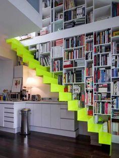Appartement duplex - contemporain - Escalier - Other Metro - Charlotte LARDEYRET architecte DPLG Staircase Bookshelf, Staircase Design, Space Saving Staircase, Bookshelf Diy, Interior Stairs, Interior Architecture, Interior Design, Small Space Living, Small Spaces