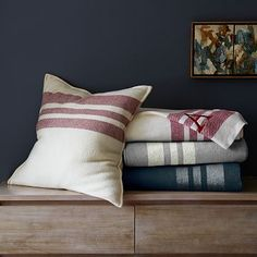 Border Stripe Blanket + Shams #WestElm The white and burgundy are so fab
